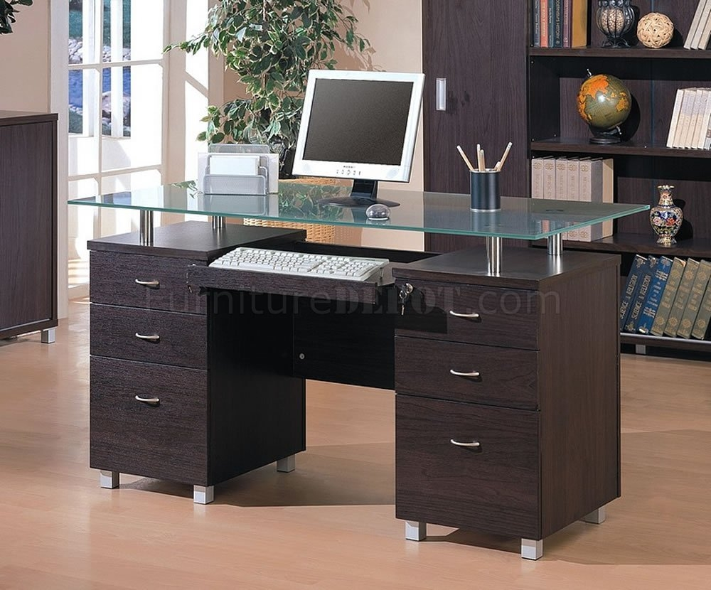 Finish Contemporary Office Desk Wglass Top In Desk With Matching Bookcase (#7 of 15)
