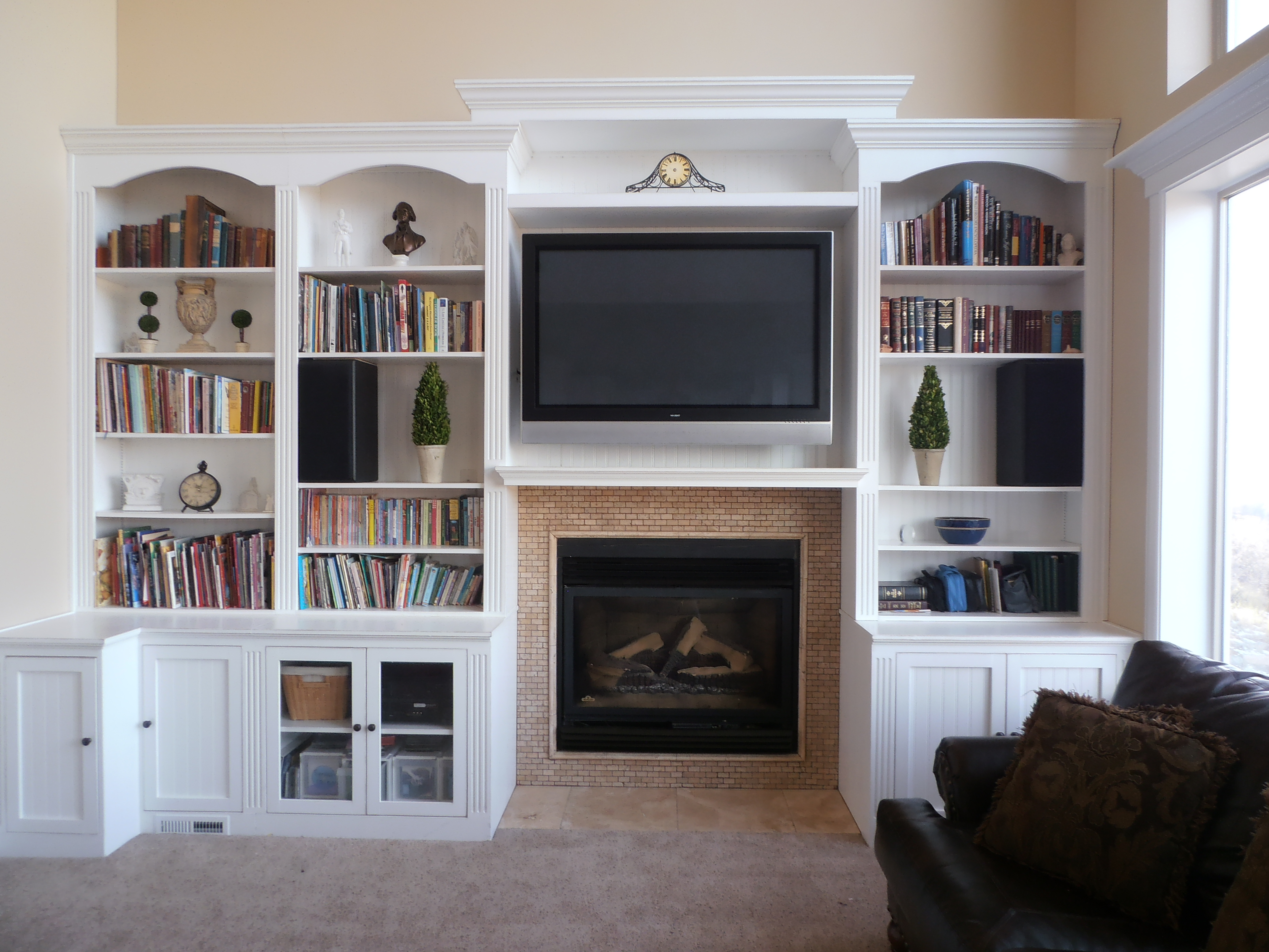 Fireplace With Hearth Center Bookcases On Sides Entertainment Within Tv Unit Bookcase (View 7 of 15)