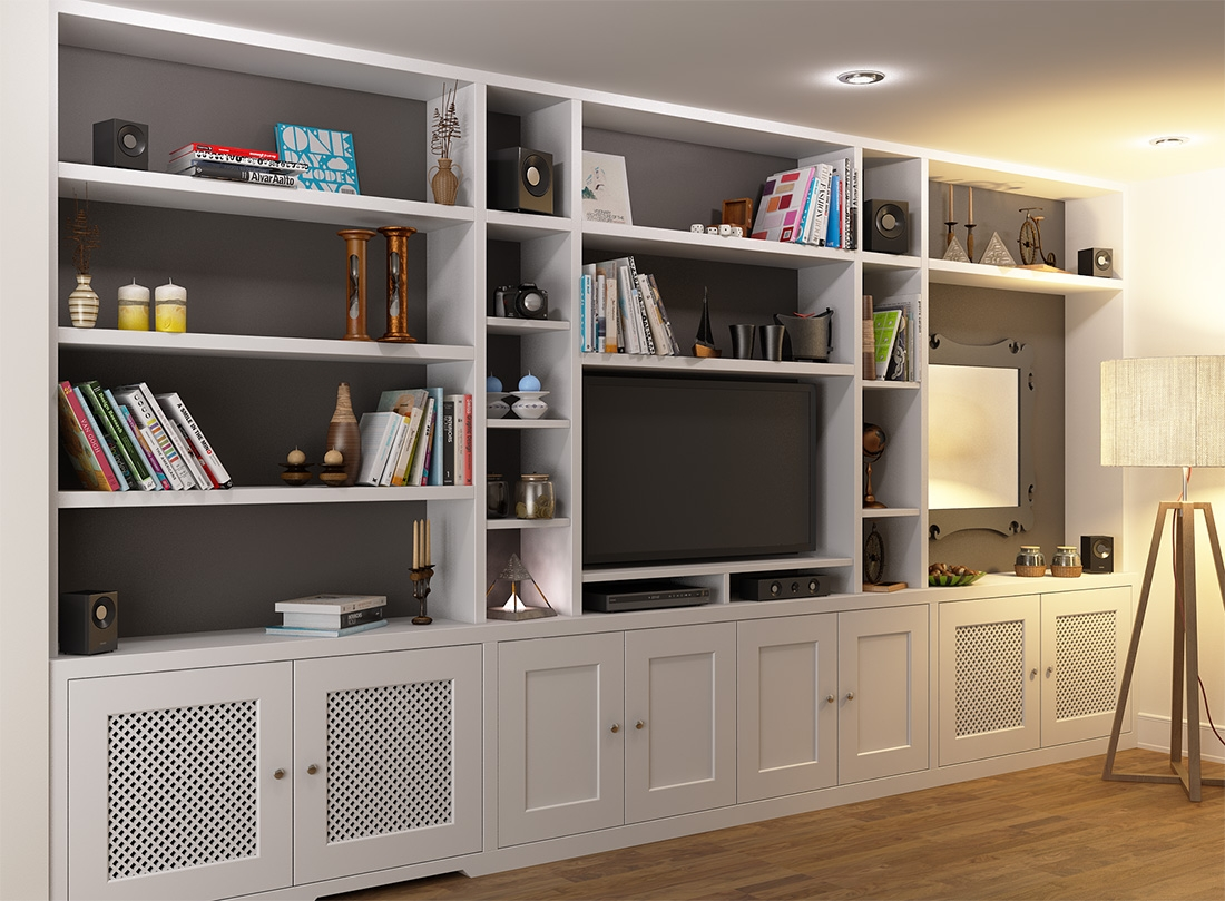 Fitted Bookcase Around Tv Unit Chelsea With Tv Bookcase Unit (#8 of 15)