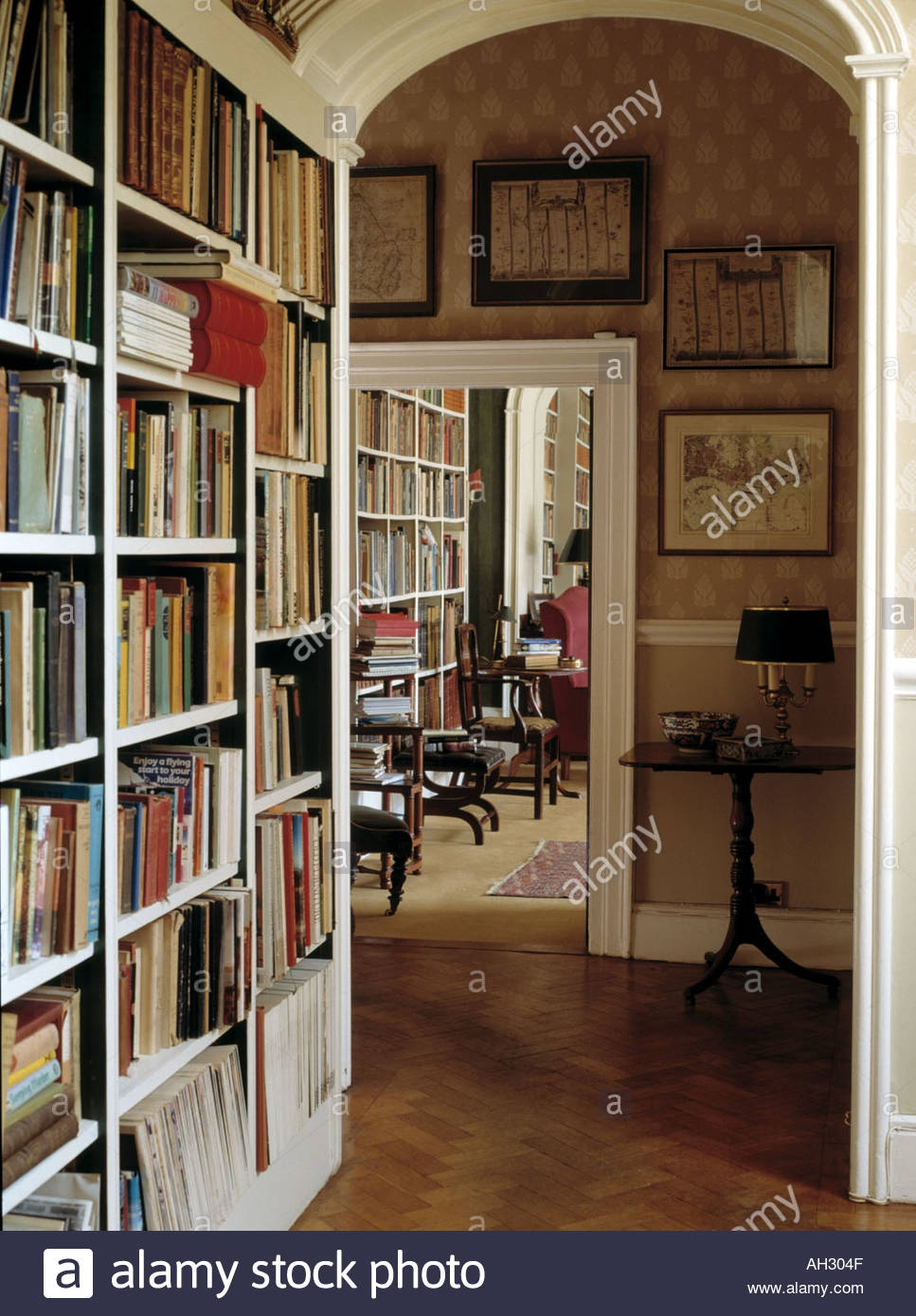 Fitted Bookcase In Study With Arched Doorway To Hall With Wooden Pertaining To Study Bookcase (View 8 of 15)