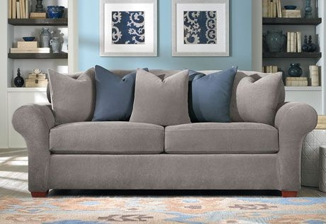 Flannel Gray And Blue Oh So Cozy Sure Fit Slipcovers Stretch Regarding Sofa Loveseat Slipcovers (#8 of 15)