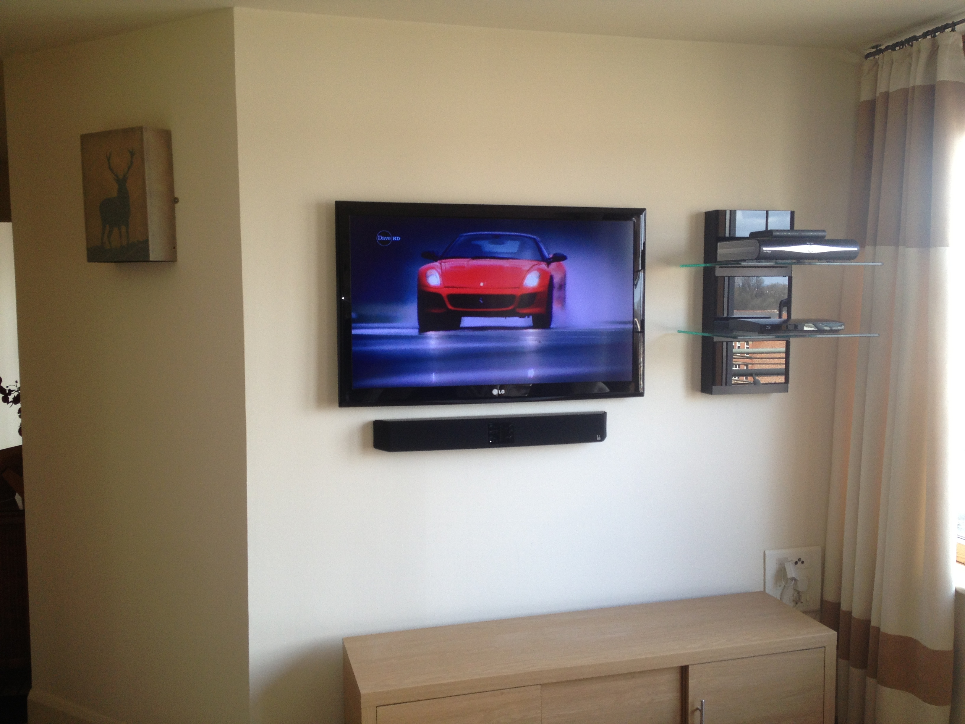 Flat Screen Tv Installation With Soundbar And Floating Av Shelves With Flat Screen Shelving (#4 of 15)