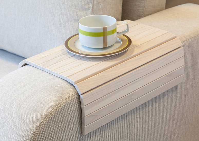 Flexible Wooden Sofa Armrest Tray Table The Green Head Pertaining To Arm Covers For Sofas (#8 of 15)