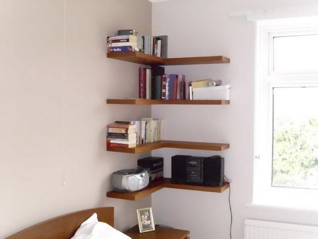 Floating Corner Shelves Wood Beadboard Vs Wainscoting Pertaining To Corner Shelf For Dvd Player (#10 of 15)