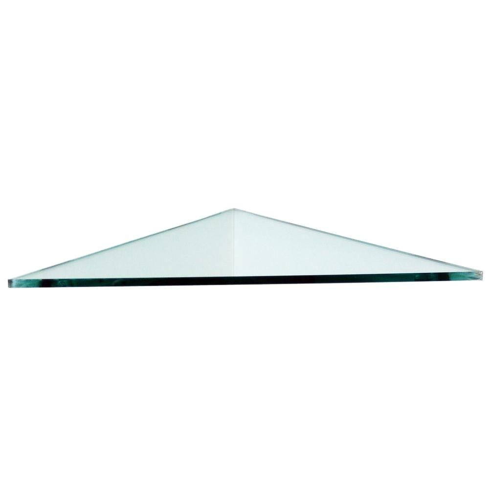 Floating Glass Shelves 38 In Triangle Glass Corner Shelf Price In Floating Corner Glass Shelves (#5 of 12)
