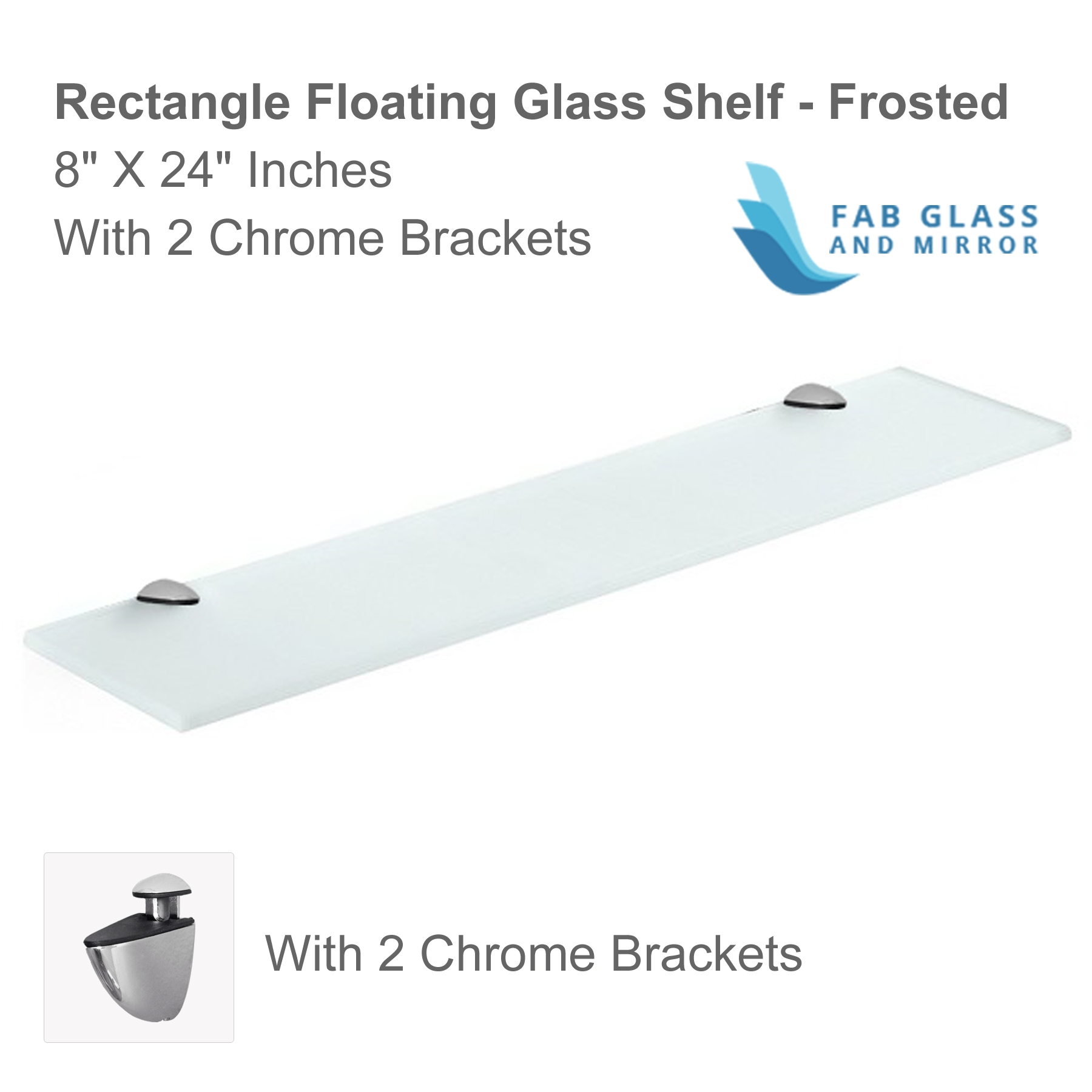 Floating Glass Shelves Corner 6×6 Inch With Chrome Brackets Clear For Frosted Glass Shelves (View 3 of 12)