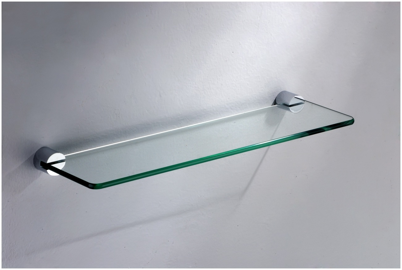 Floating Glass Shelves For Cable Box Rectangle Two Clear Glass Within Clear Glass Floating Shelves (#10 of 15)