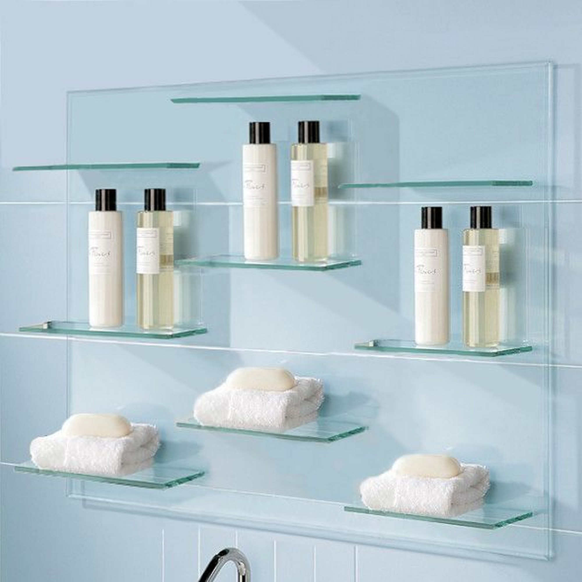 Floating Glass Shelves With Elegant Design For Clean Bathroom With Regard To Floating Glass Shelves (#7 of 15)