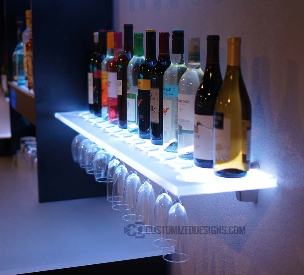 Floating Shelves W Wine Glass Rack Led Lighting Brackets Intended For Led Floating Shelves (#2 of 12)