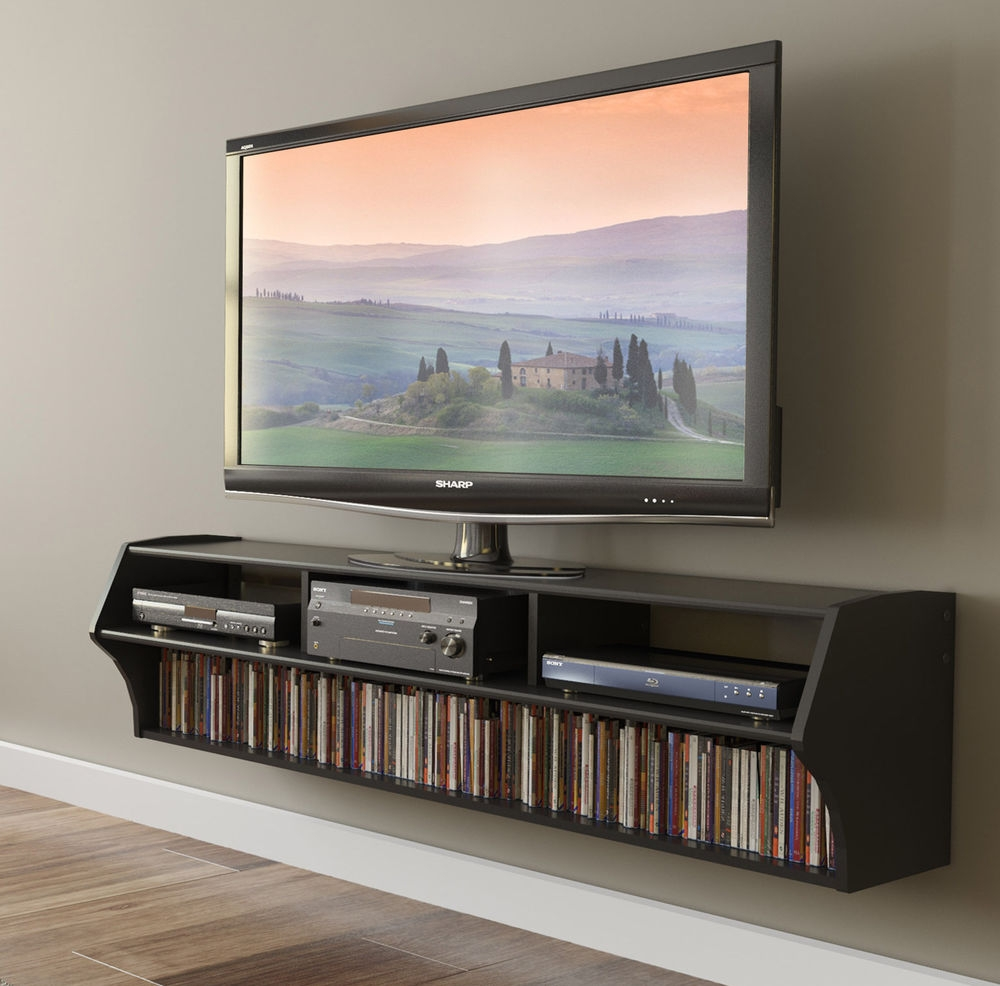 Floating Tv Stand Wall Mounted 58 Inch Lcdled Flat Screen With Regard To Flat Screen Shelving (#8 of 15)