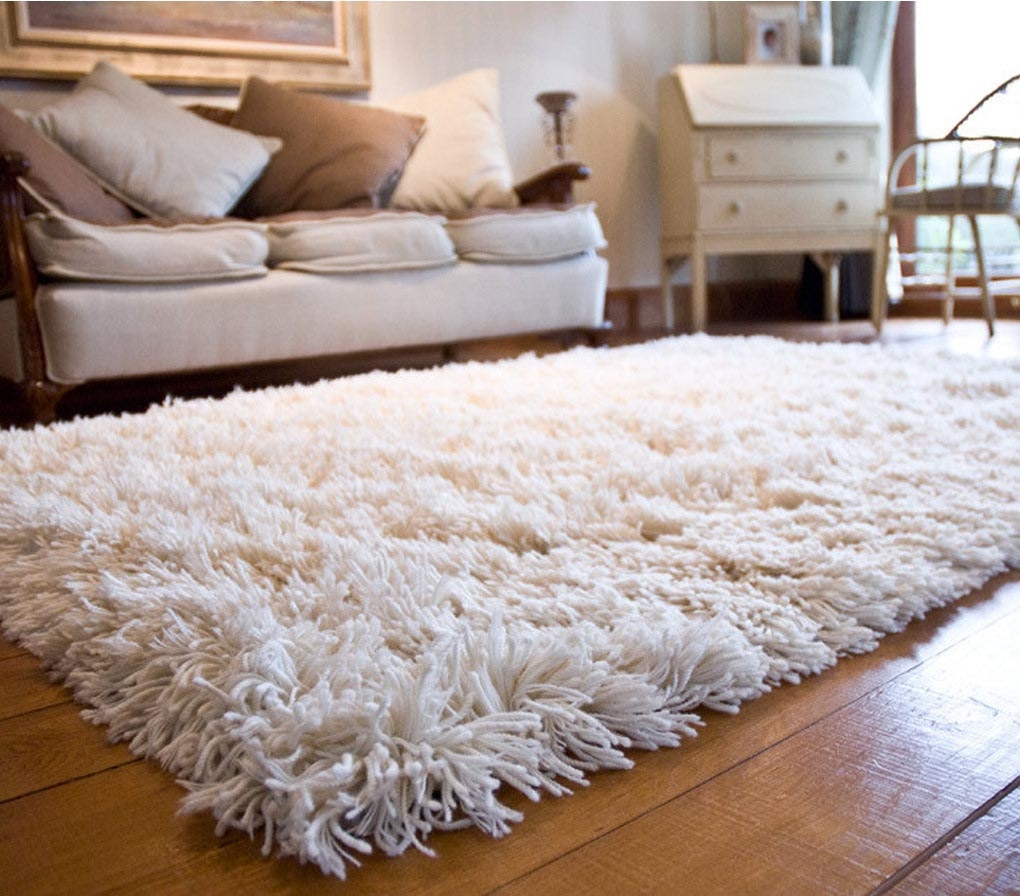 Flokati Area Rug 5×7 Natural Wool White Heavy Soft Shag Carpet With Regard To Wool Shag Area Rug (#3 of 15)