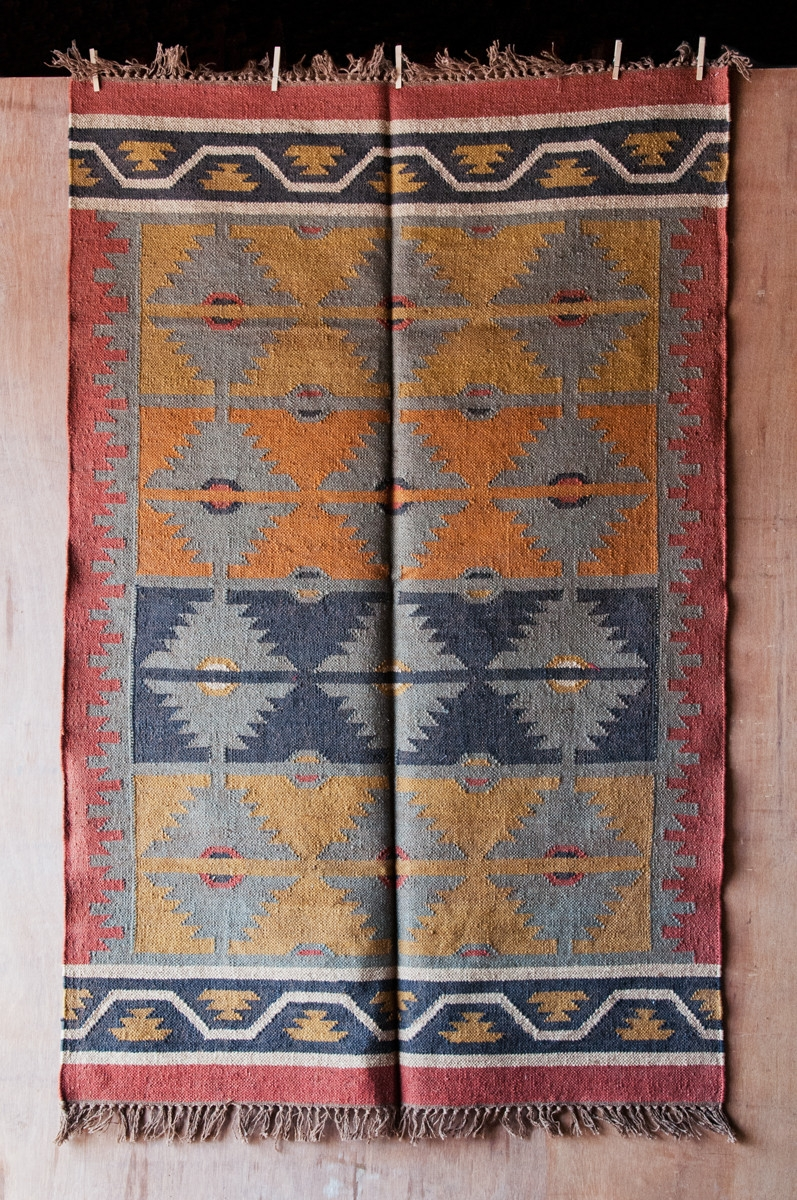 Floor Wool Flat Weave Area Rugs Dhurrie For