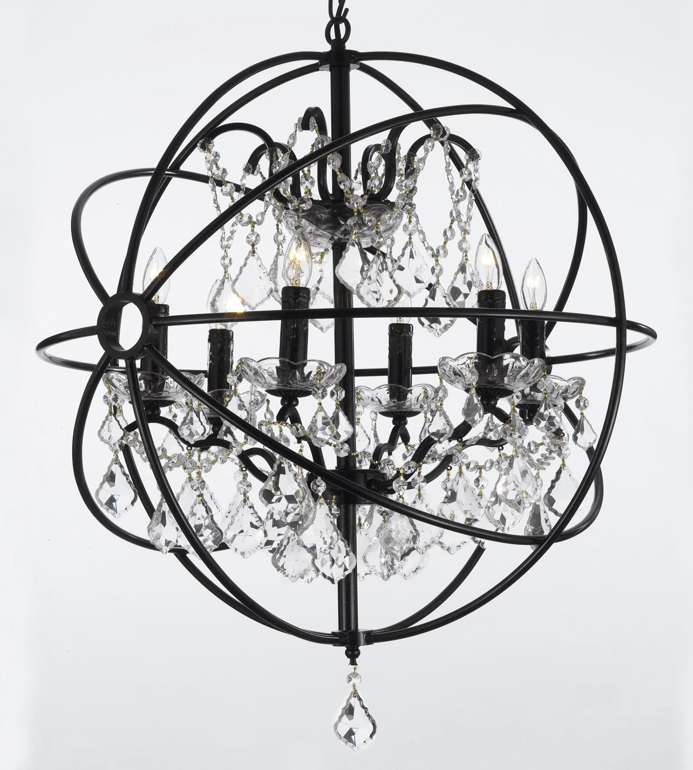 Foucaults Orb Wrought Iron Crystal Chandelier Lighting Country With Metal Sphere Chandelier (#6 of 12)