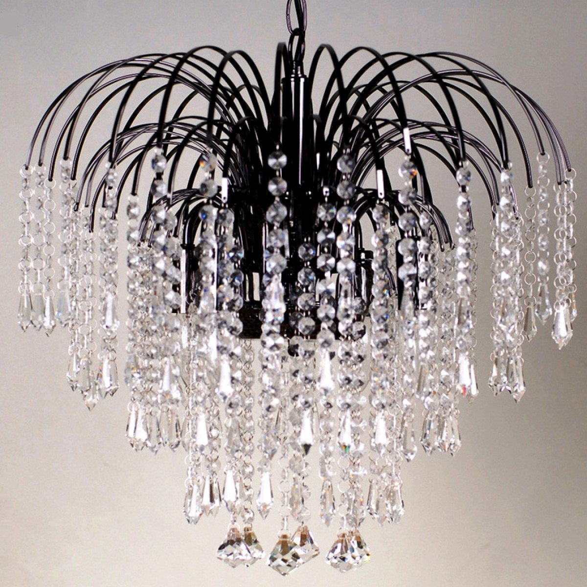Four Light Black Crystal Chandelier Pertaining To Waterfall Crystal Chandelier (#7 of 12)