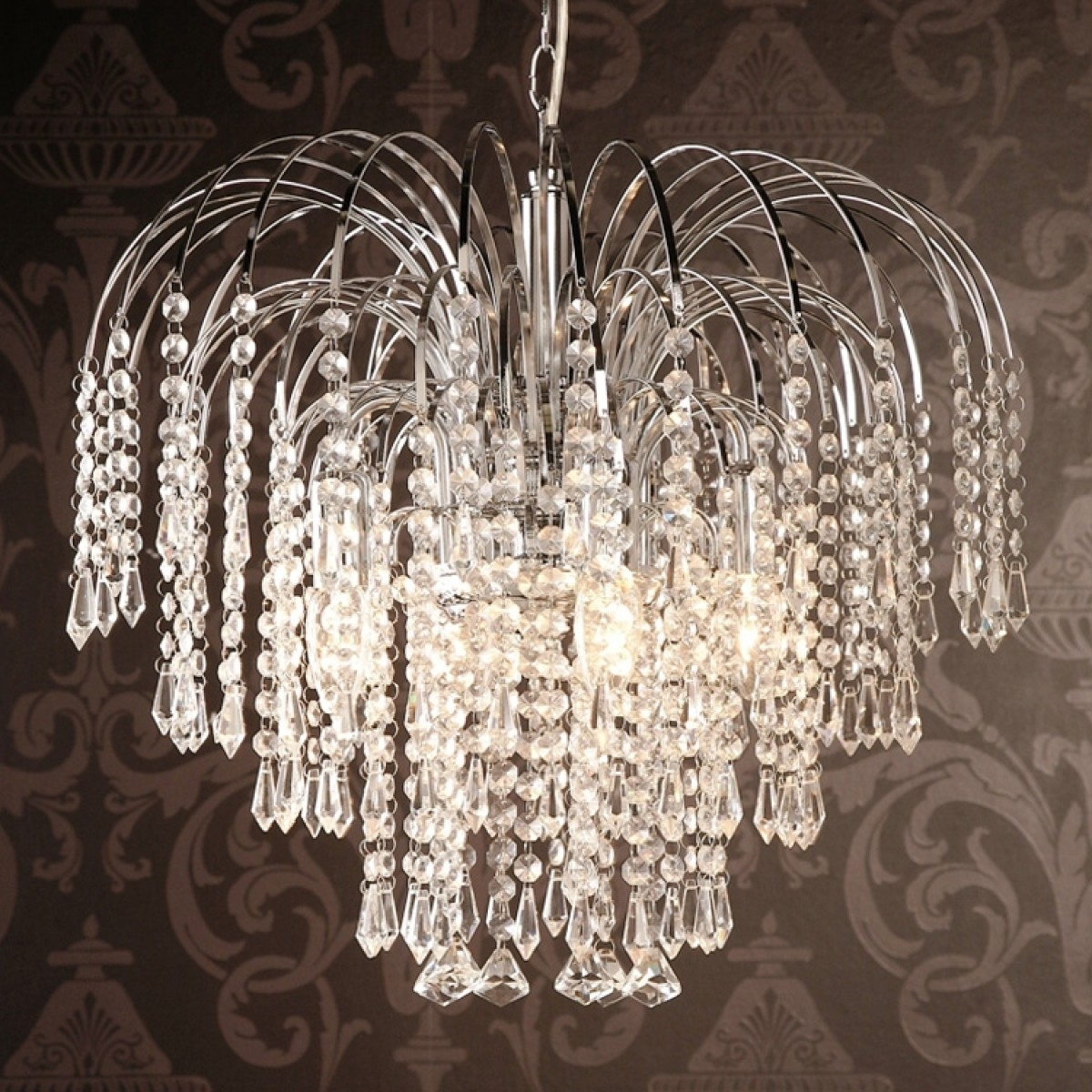 Four Light Chrome Crystal Chandelier Throughout Crystal Waterfall Chandelier (#8 of 12)