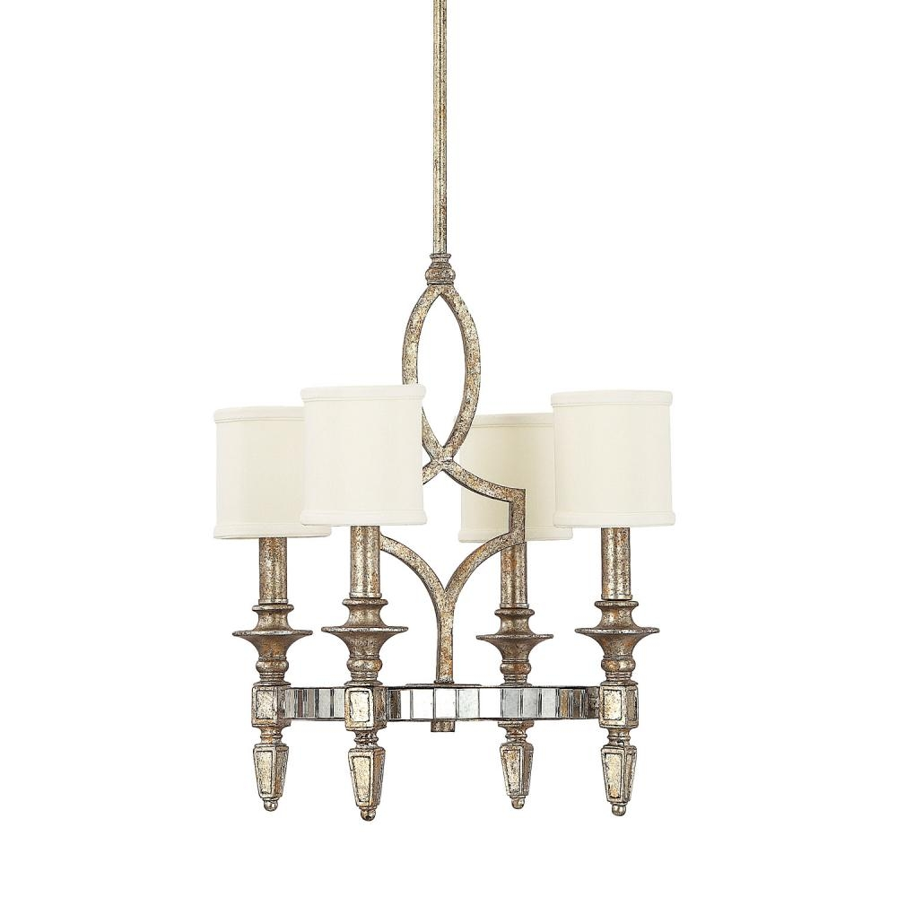 Four Light Silver And Gold Leaf With Antique Mirrors Up Chandelier  Throughout Antique Mirror Chandelier ( - 12 Collection Of Antique Mirror Chandelier