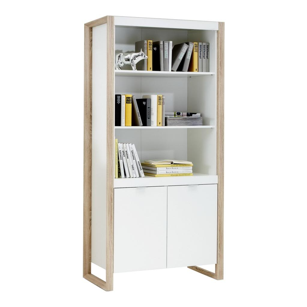 Frame Contemporary Office Furniture White And Oak Deskdrawer With Bookcase With Cupboard (View 9 of 15)