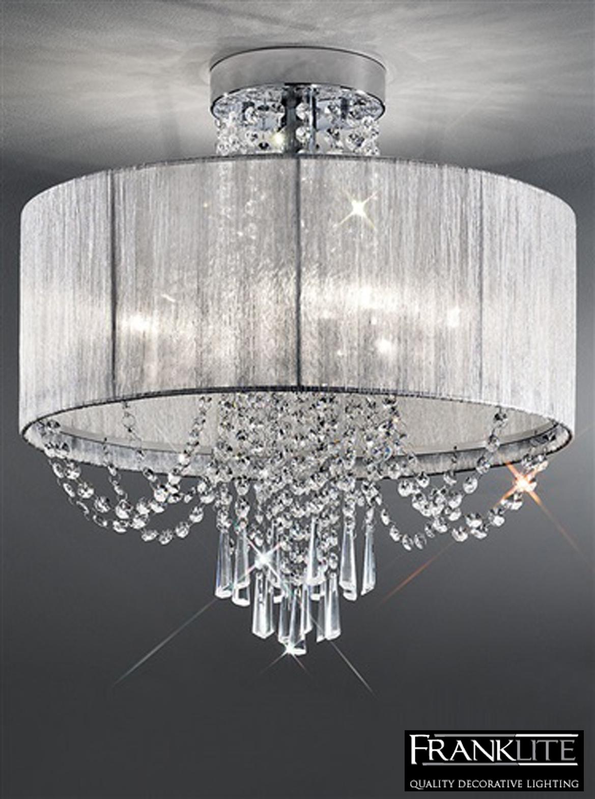 Franklite Empress 6 Light Flush Crystal Chrome Ceiling Fitting For Flush Fitting Chandelier (#6 of 12)