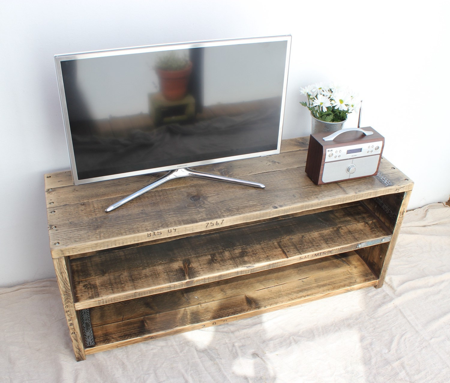 Frederick Reclaimed Wood Tv Stand Handmade Bespoke Tv In Bespoke Tv Stand (#6 of 15)