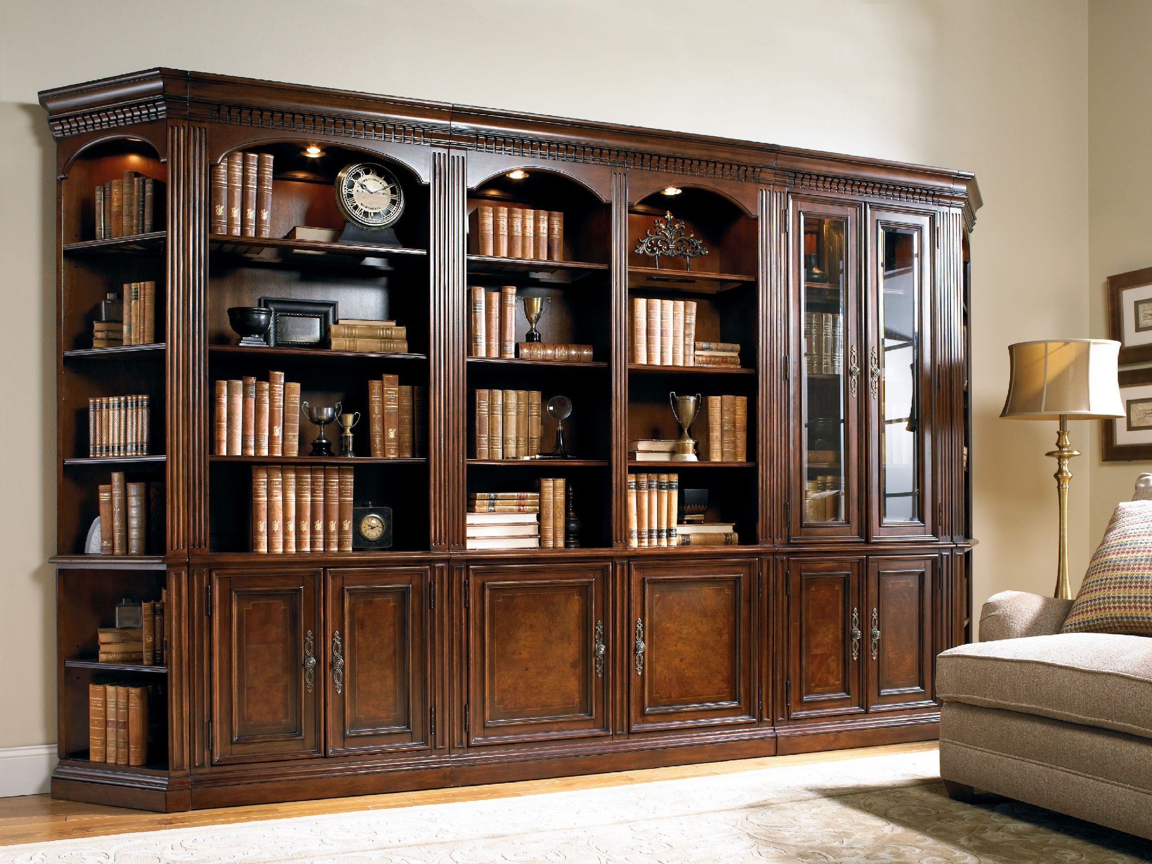 Free Standing Black Wooden Bookcase With Four Shelves Also Glass Pertaining To Large Wooden Bookcases (View 12 of 15)