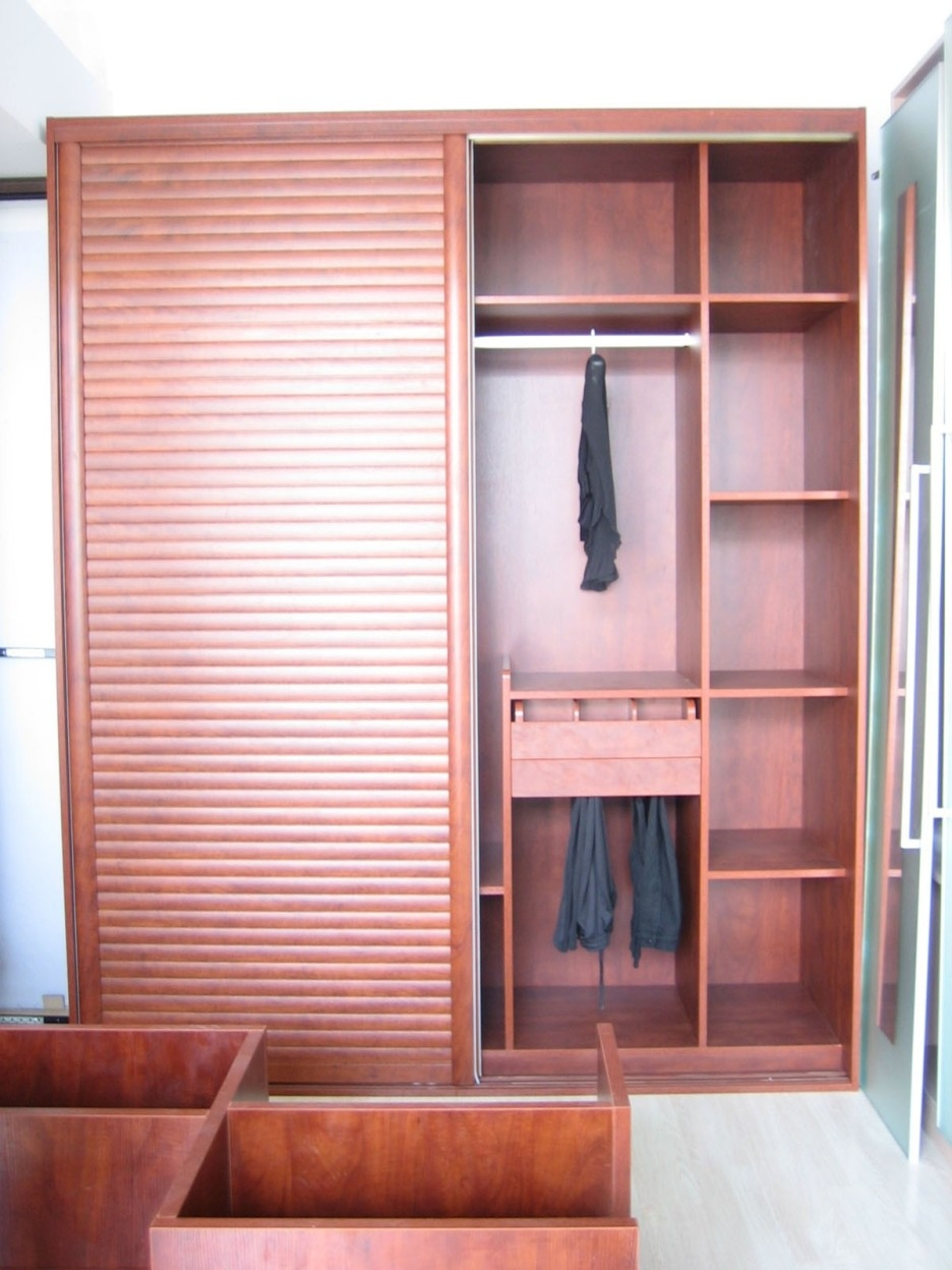 Free Standing Brown Wooden Wardrobe With Many Shelves Inside In Wardrobe With Drawers And Shelves (View 7 of 15)
