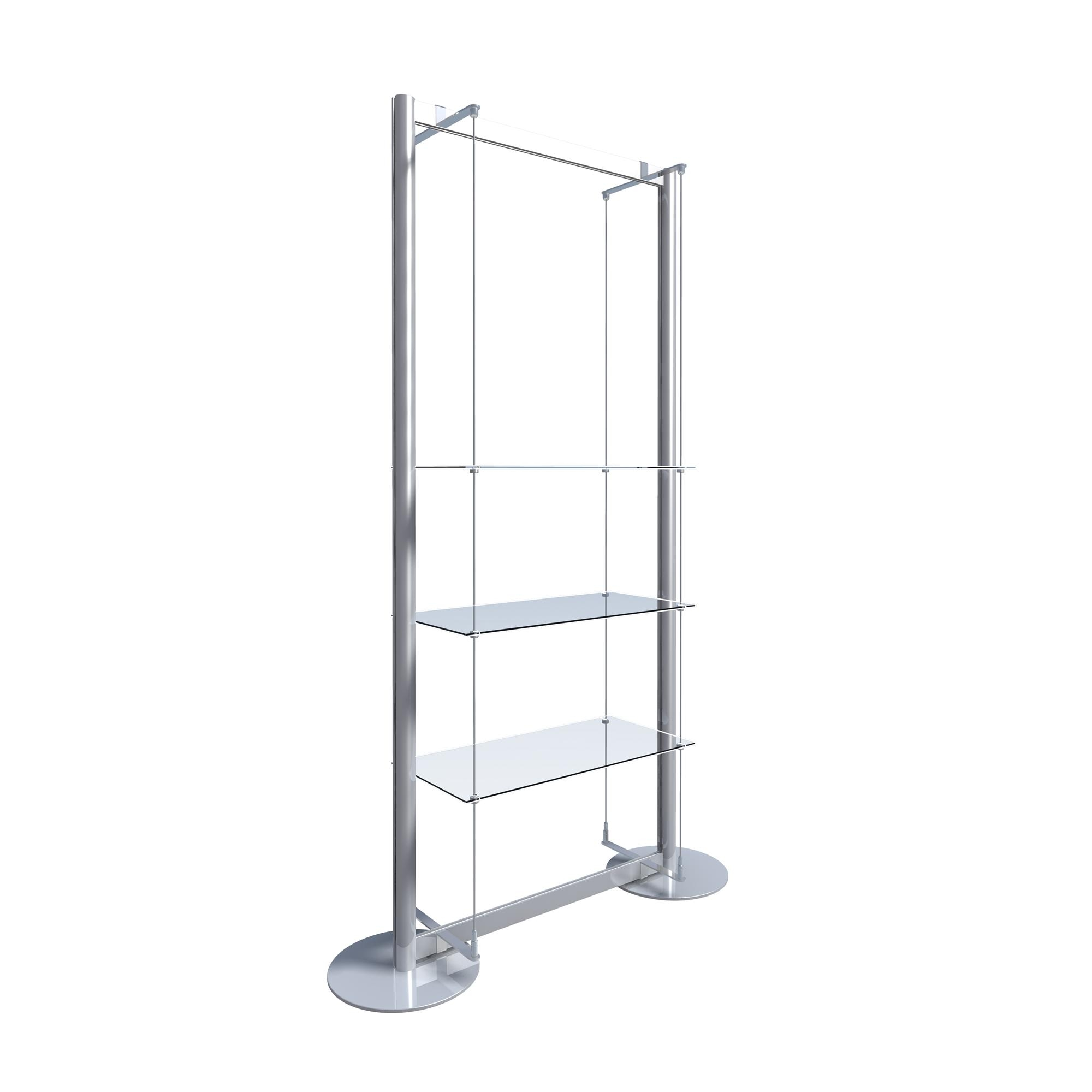 Freestanding Display With 3 Glass Shelves Freestanding Window With Regard To Free Standing Glass Shelves (#7 of 12)
