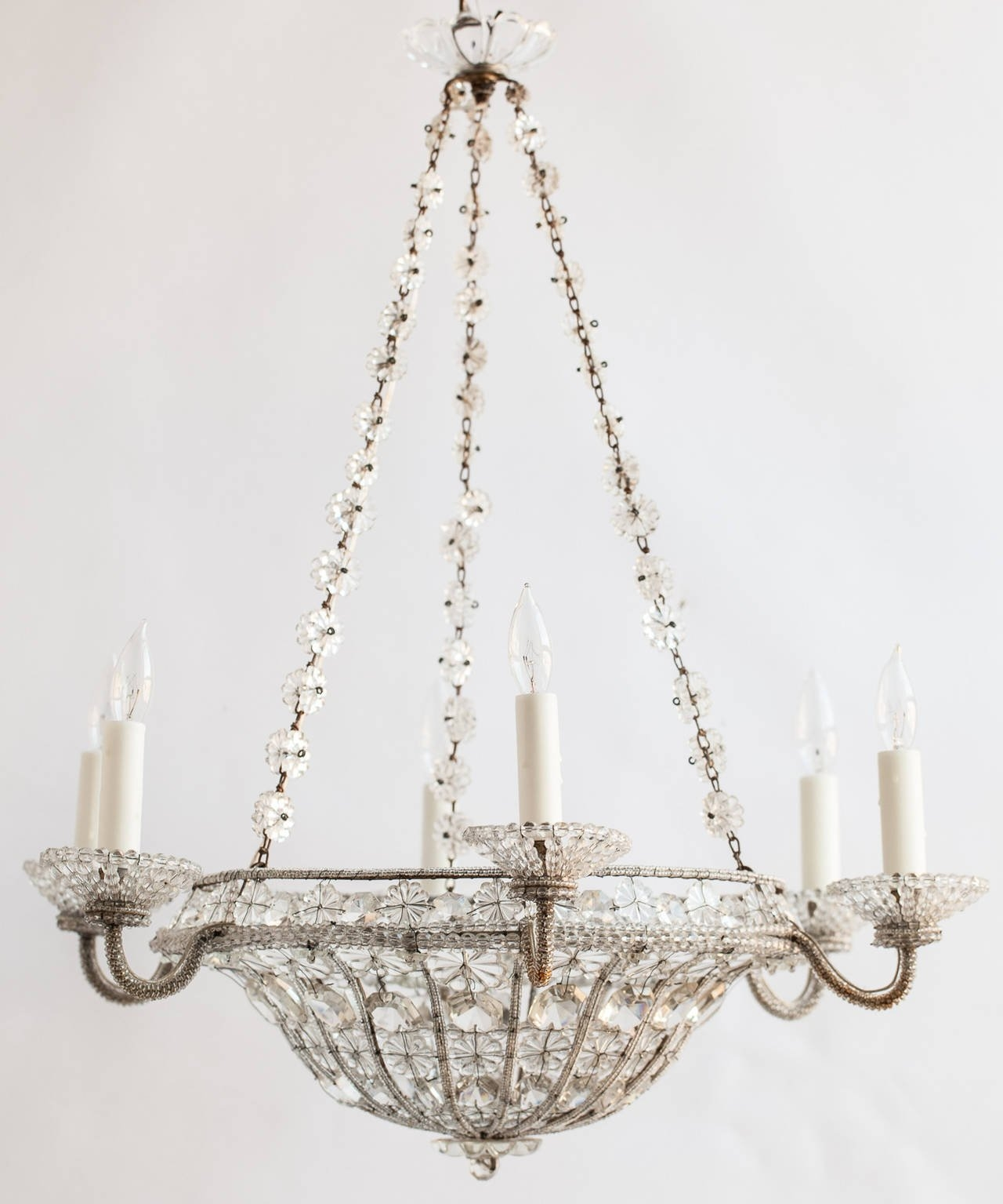 French Chandelier In A Basket Shape With Crystal Flowers Circa For French Chandelier (#8 of 12)