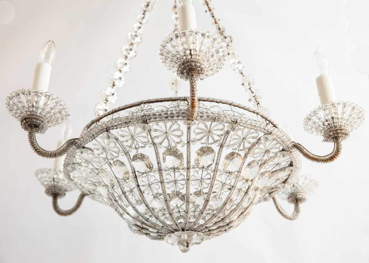 French Chandelier In A Basket Shape With Crystal Flowers Circa In French Chandelier (#9 of 12)