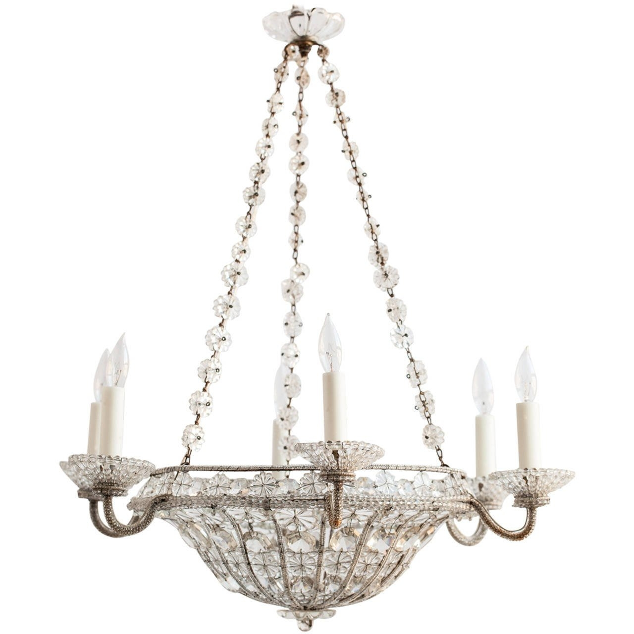 French Chandelier In A Basket Shape With Crystal Flowers Circa Within French Chandelier (#10 of 12)