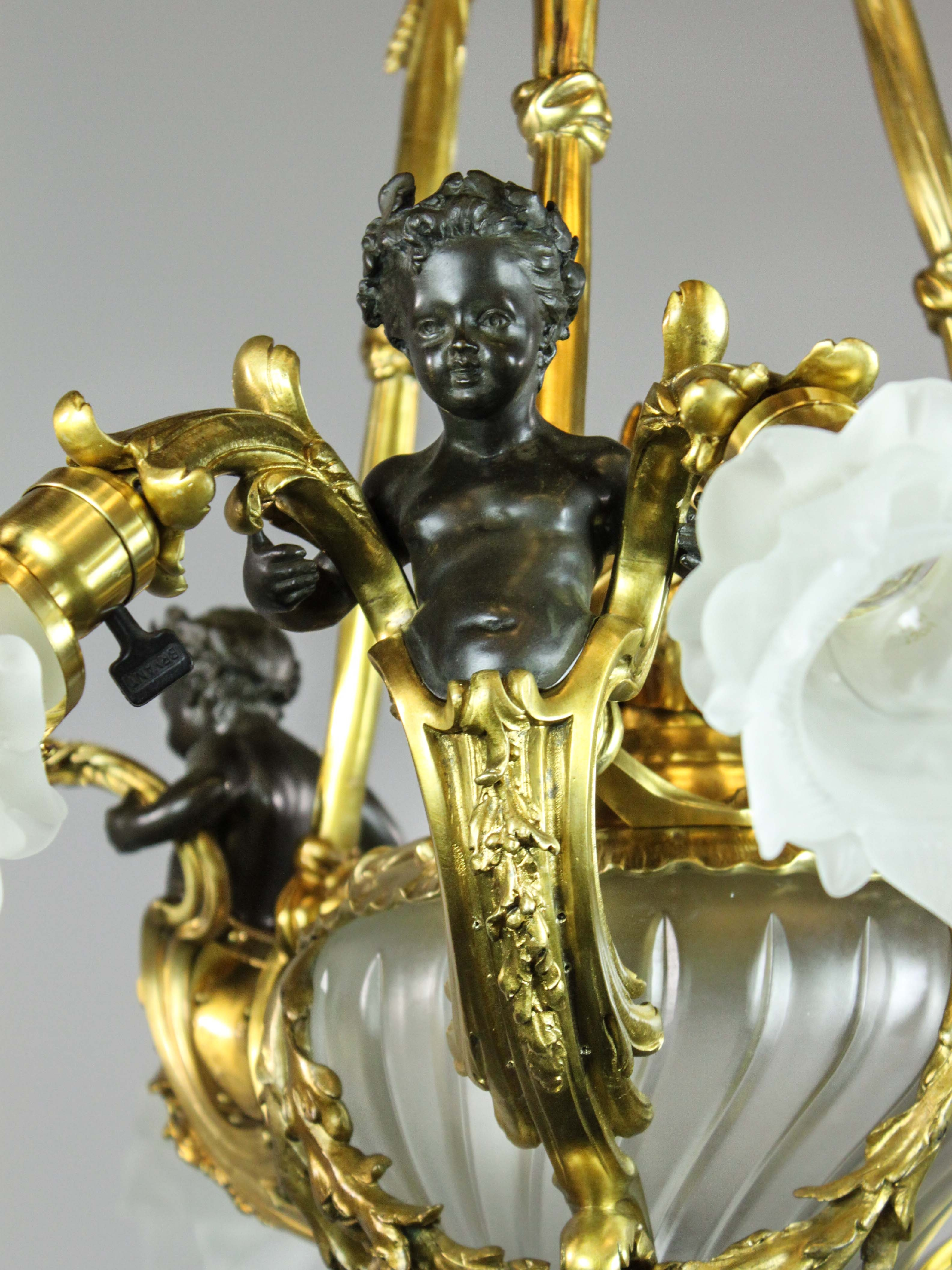 French Cherub Rococo Figural Chandelier 7 Light With Regard To French Gold Chandelier (#8 of 12)
