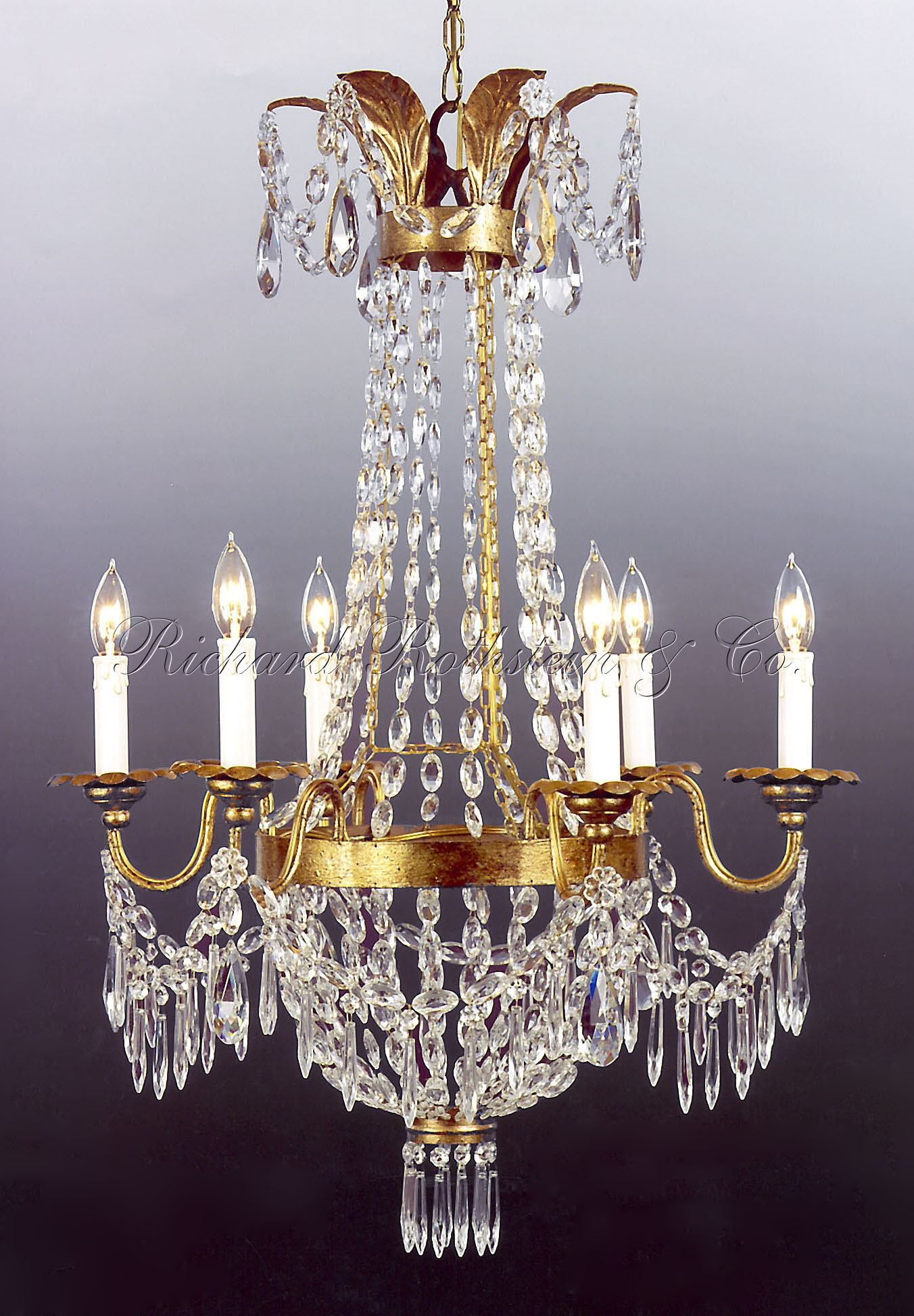 French Crystal Chandelier Polished Brass Frame Finish Clear With Regard To French Crystal Chandeliers (#8 of 12)