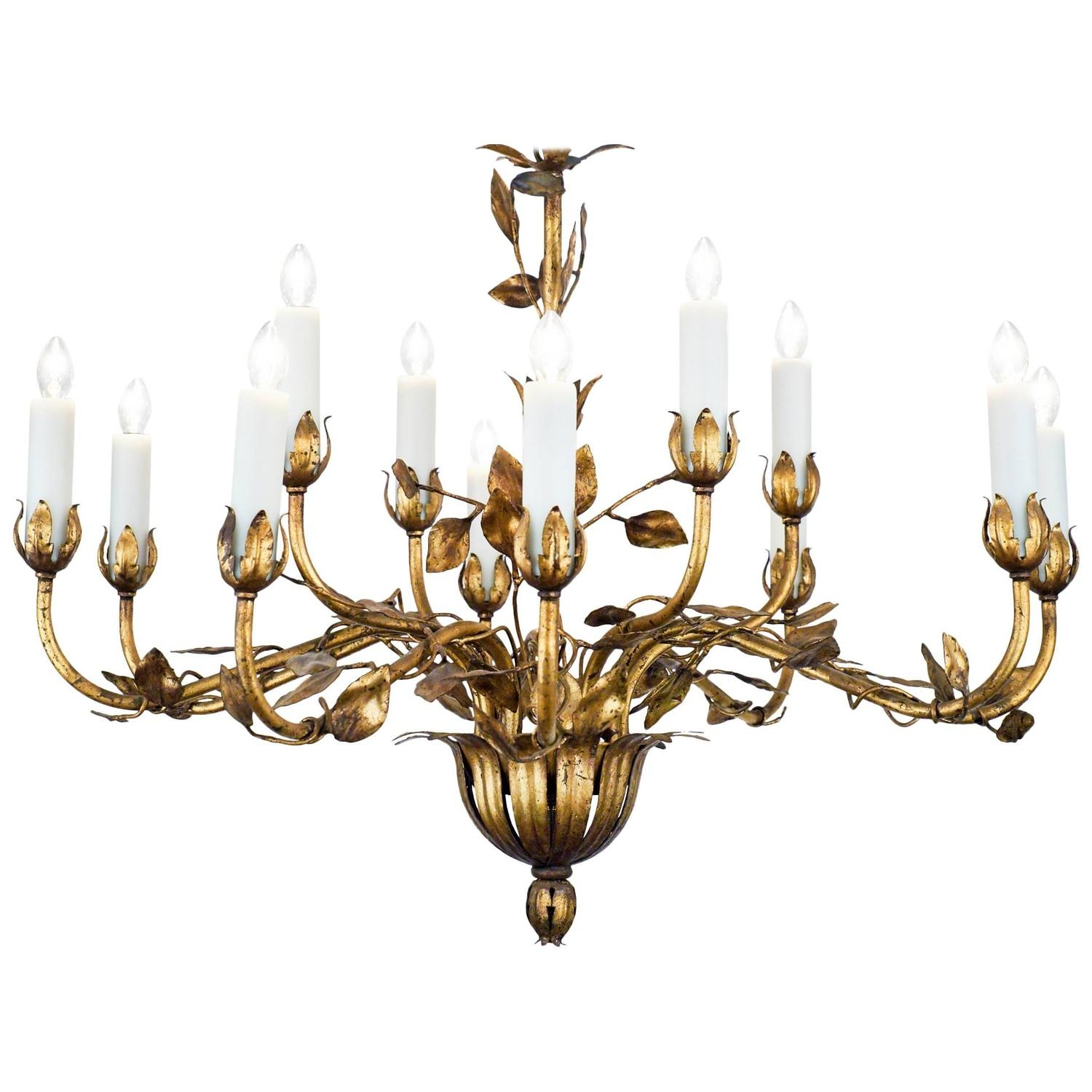 Popular Photo of Gold Leaf Chandelier