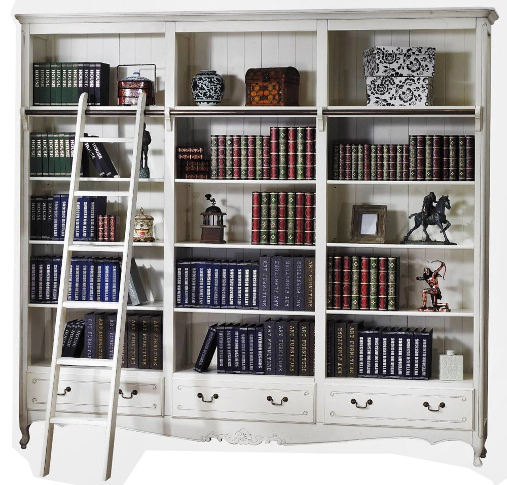 French Provincial Classic Library Bookcase Display Bookshelves In Library Cupboards (#3 of 12)