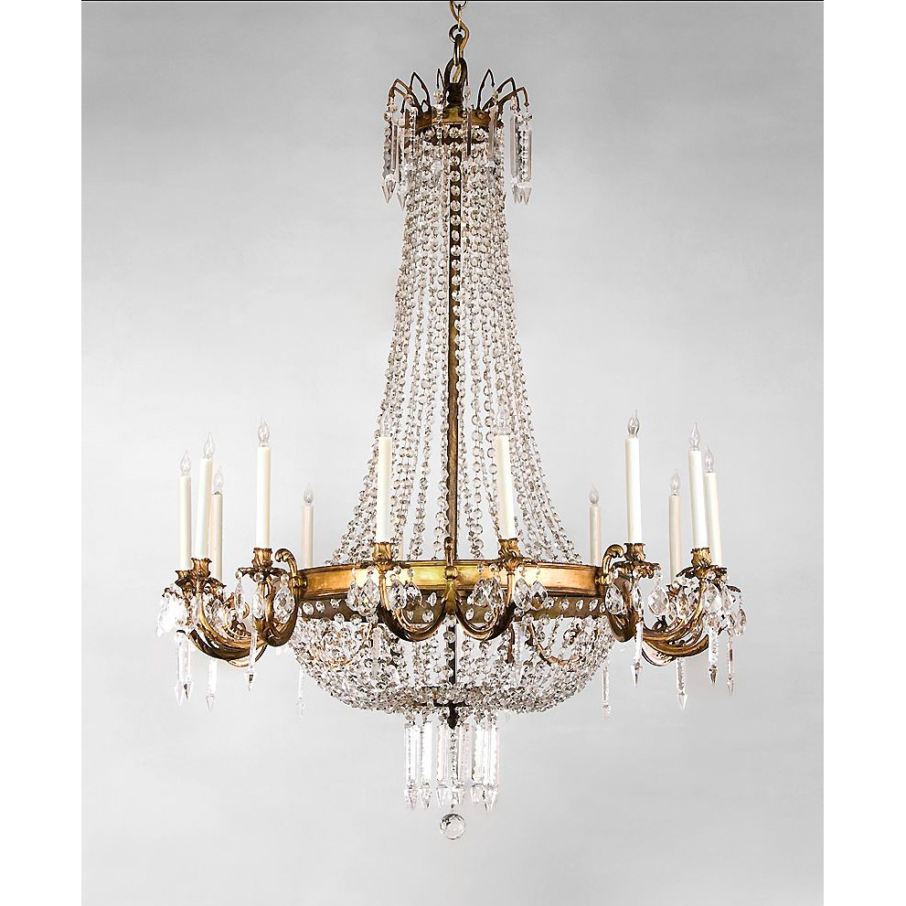French Regency Style 14 Light Ormolu And Crystal Chandelier From Intended For Large Crystal Chandeliers (#8 of 12)