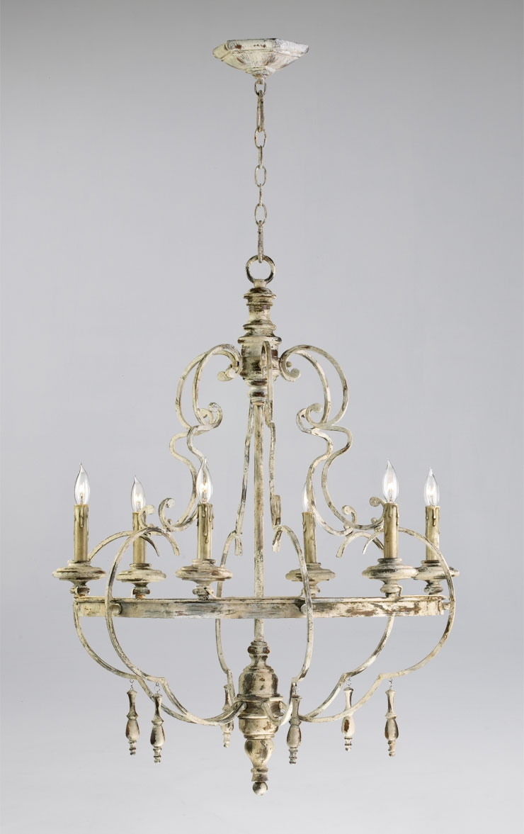 French Style Chandeliers Brushed Nickel Finish French Style For French Style Chandelier (#8 of 12)