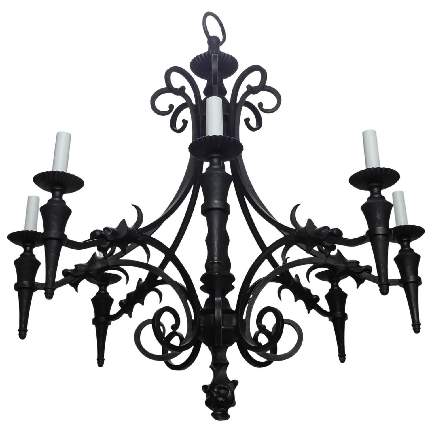 French Vintage Six Light Carved Wood Chandelier French Vintage With Vintage Style Chandelier (#7 of 12)