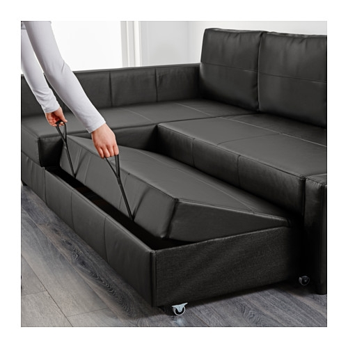 Friheten Sleeper Sectional3 Seat Wstorage Skiftebo Dark Gray Pertaining To Leather Sofa Beds With Storage (#6 of 15)