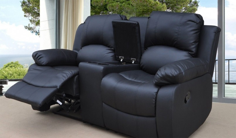 Funiture Modern Reclining Sofa Ideas For Living Room Using Black Intended For 2 Seater Recliner Leather Sofas (View 5 of 15)