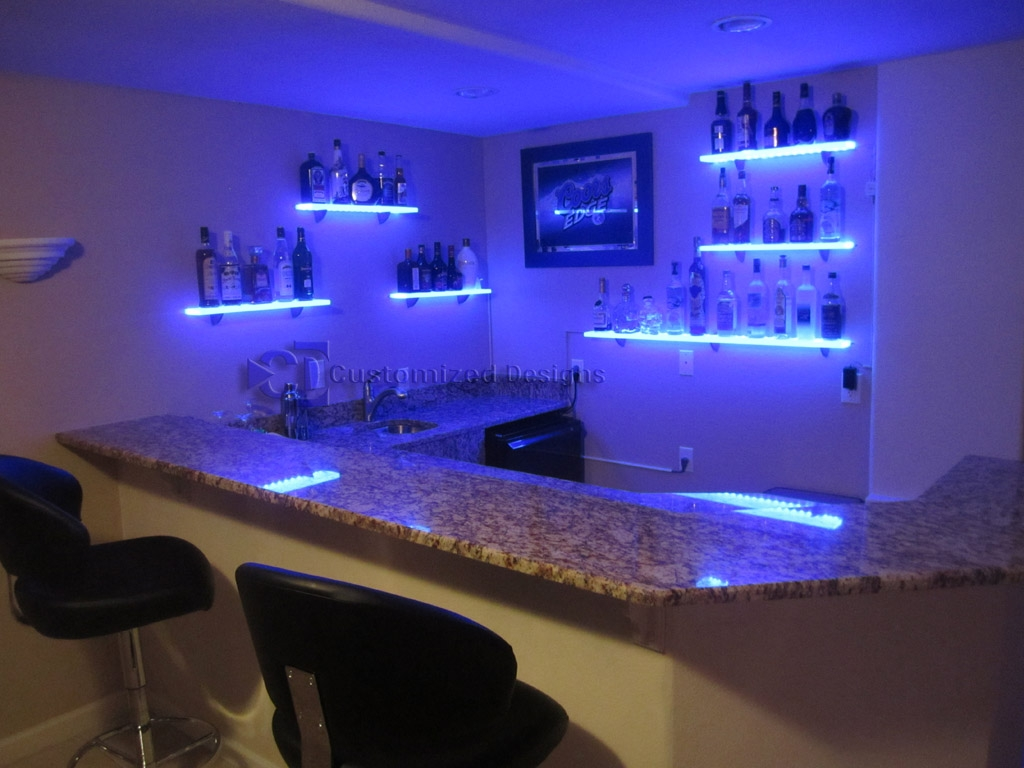 Furniture Awesome Illuminated Glass Bar Shelves Led Shelves W Inside Illuminated Glass Shelves (#1 of 12)