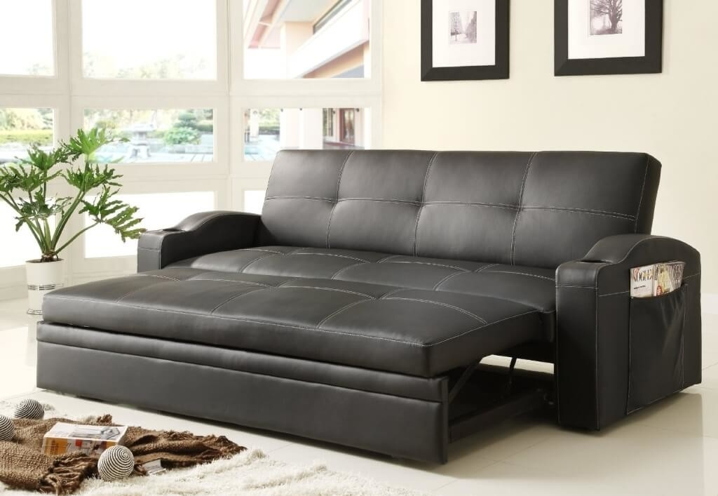 Furniture Black Leather Convertible Sofa Bed For Living Room In Comfortable Convertible Sofas (#9 of 15)