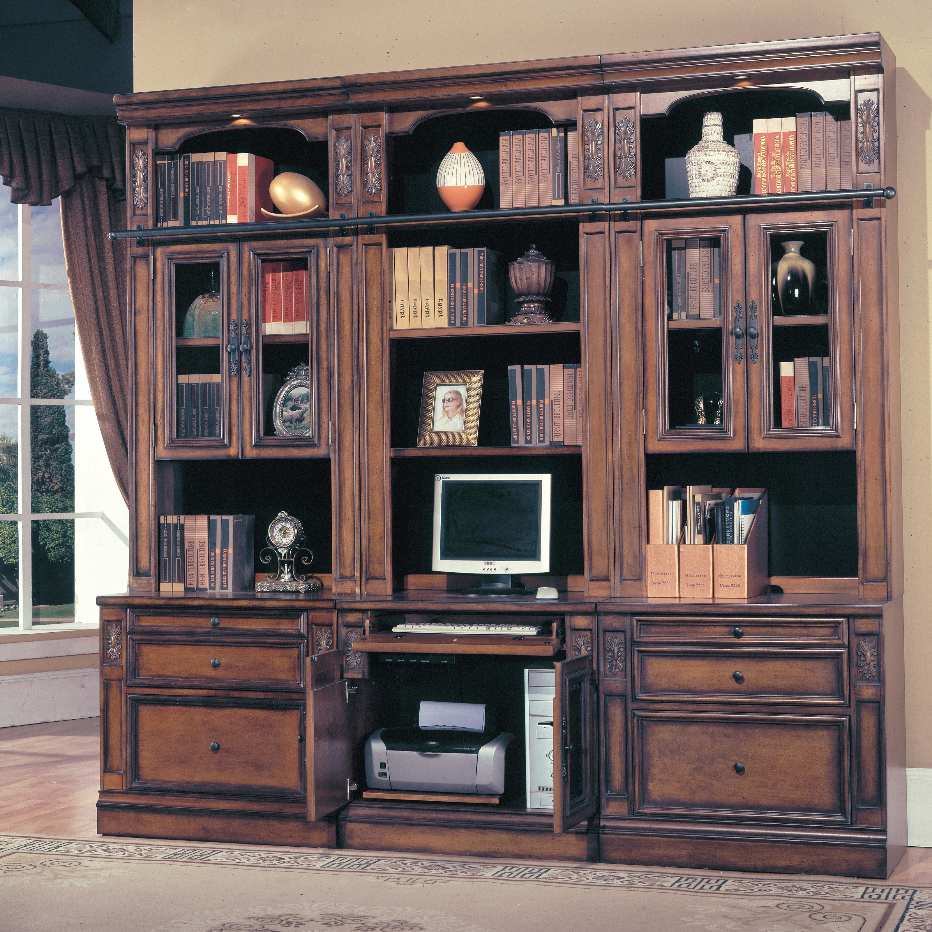 Furniture Brown Wooden Tall Media Cabinet With Sliding Glass For Bookshelf Drawer Combination (#10 of 15)