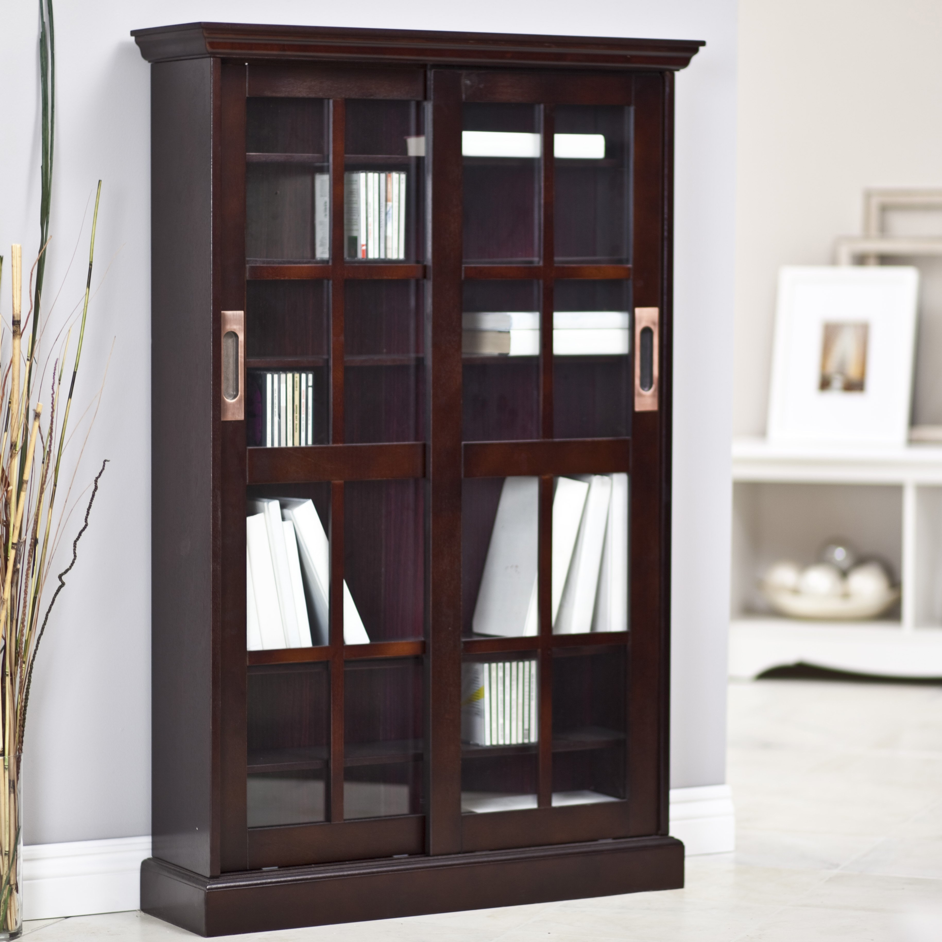 Furniture Brown Wooden Tall Media Cabinet With Sliding Glass Pertaining To Large Wooden Bookcases (View 4 of 15)