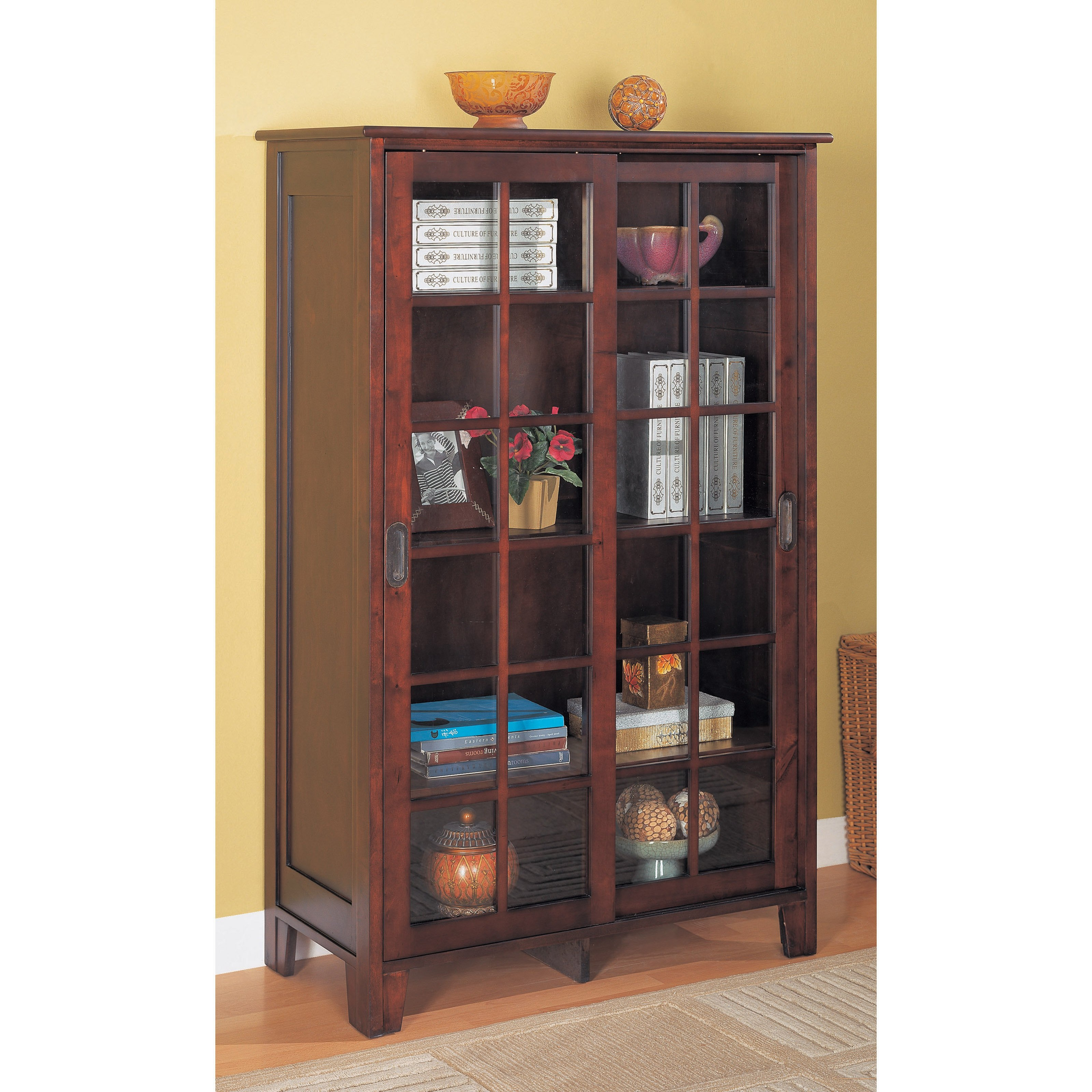 Furniture Brown Wooden Tall Media Cabinet With Sliding Glass Within Large Wooden Bookcases (View 8 of 15)