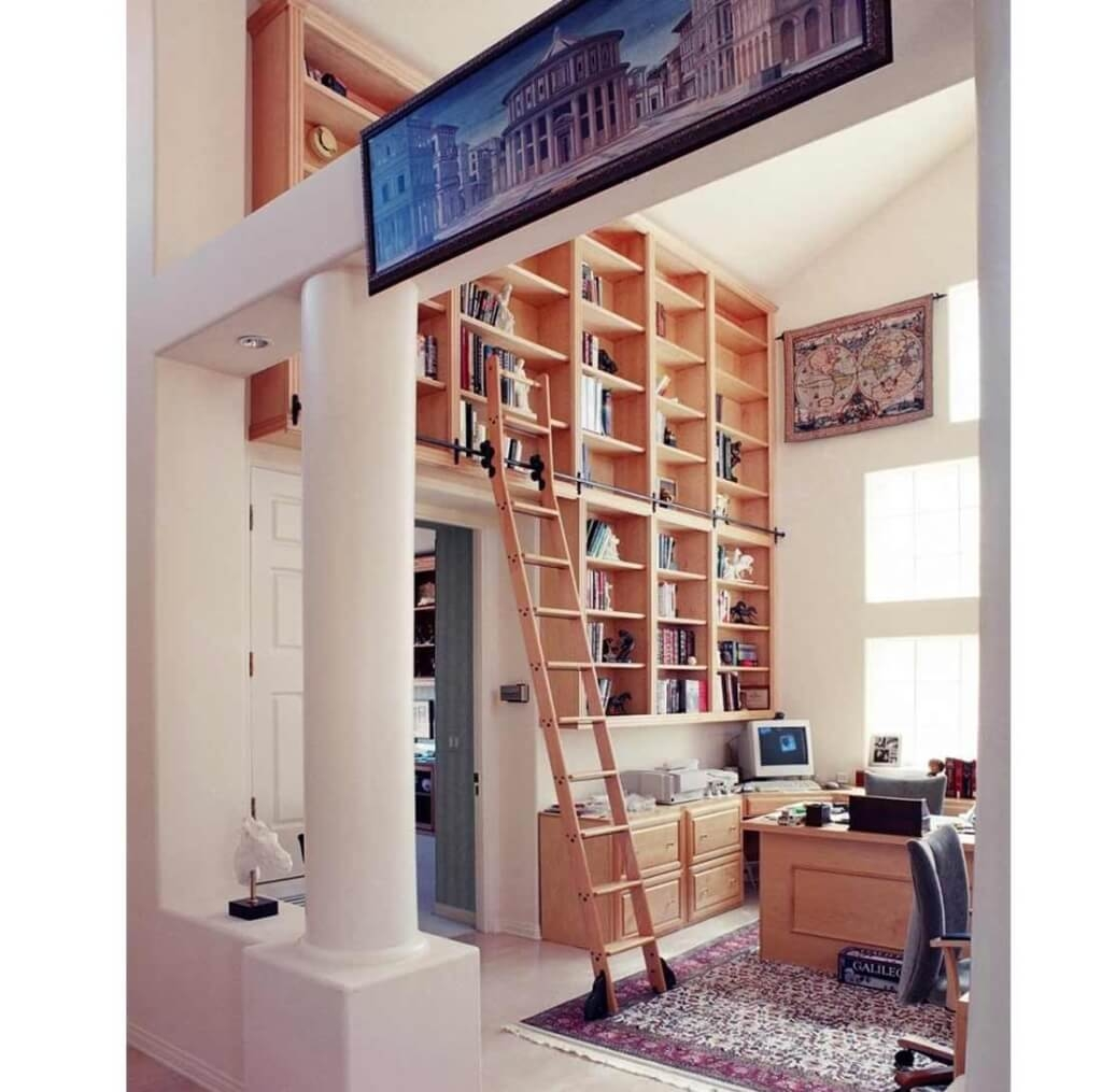 Furniture Cool Wooden Rolling Library Ladder On Sale 14 Pertaining To Wooden Library Ladders (View 7 of 15)