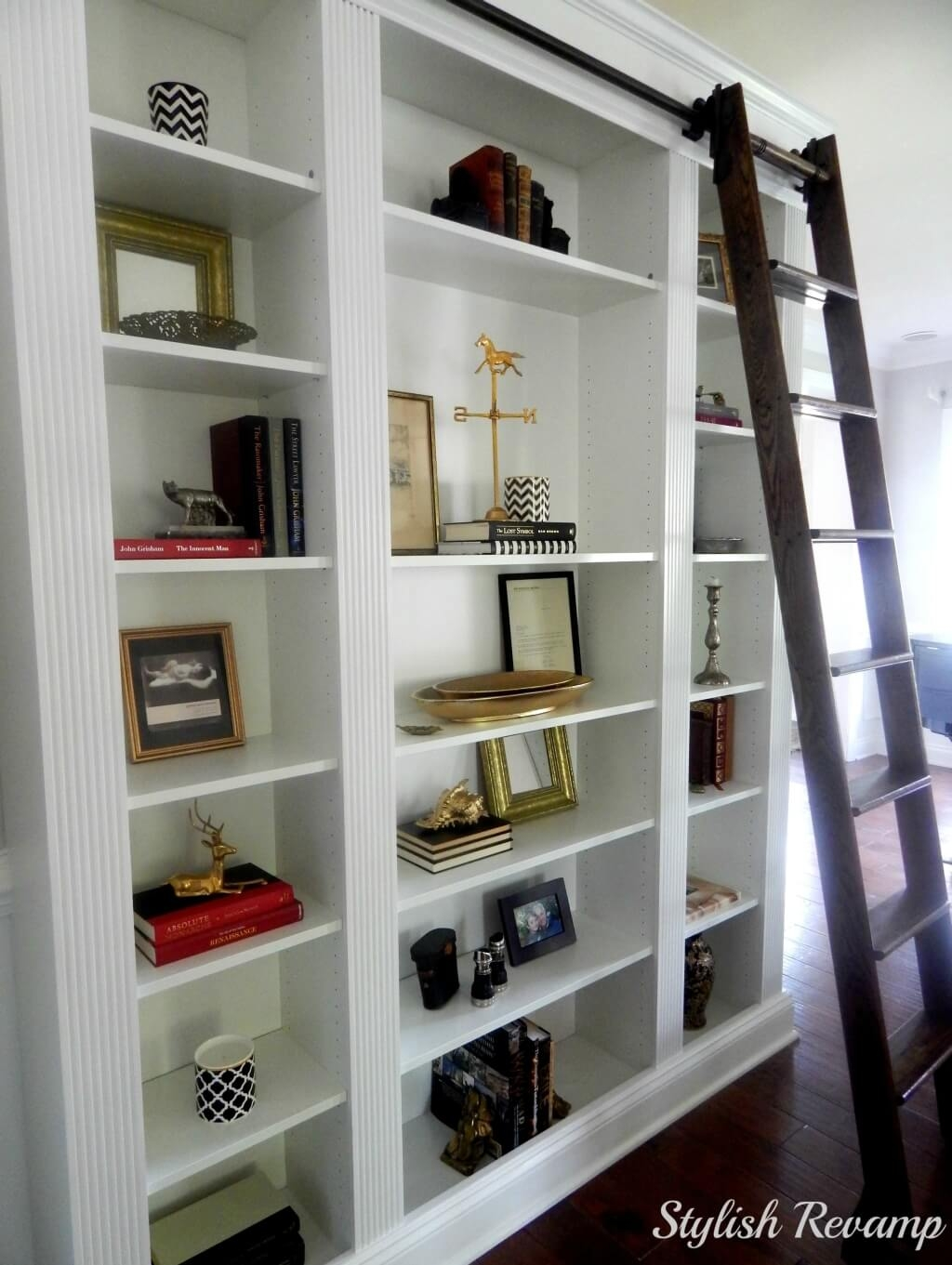 Furniture Cool Wooden Rolling Library Ladder On Sale 14 Regarding Wooden Library Ladders (View 12 of 15)
