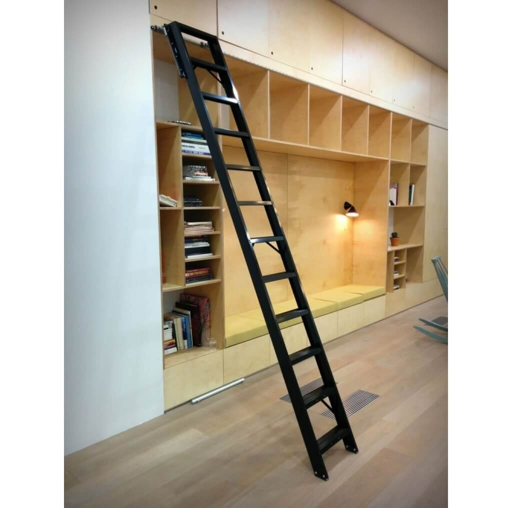 Furniture Cool Wooden Rolling Library Ladder On Sale 14 Throughout Wooden Library Ladders (View 9 of 15)