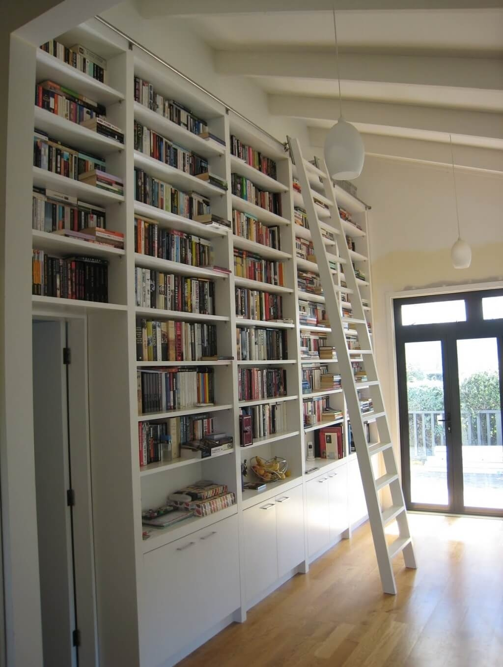 Furniture Excellent Sample Of Rolling Library Ladder With White With Regard To White Library Bookcase (#5 of 15)