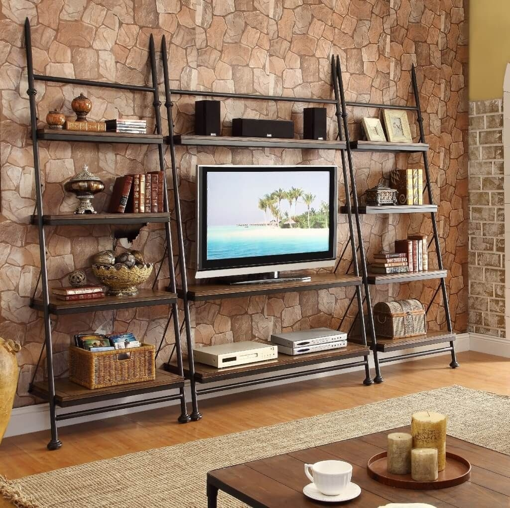 Furniture Interesting Black Iron Leaning Bookcase With Tv Desk Intended For Tv Bookcase (#5 of 15)