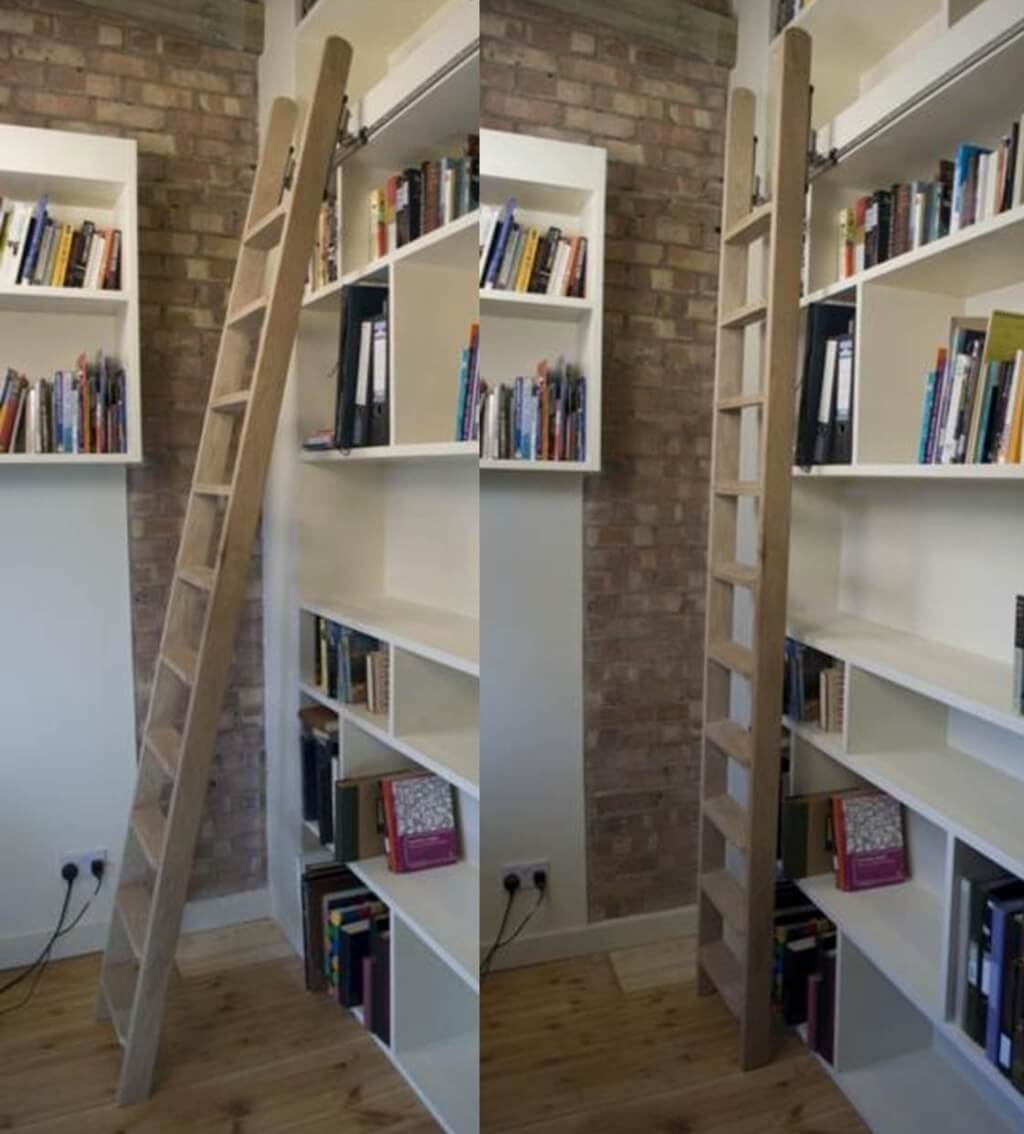 Furniture Intresting Rolling Library Ladder Ideas For White Within Library Ladder Kit (View 7 of 15)