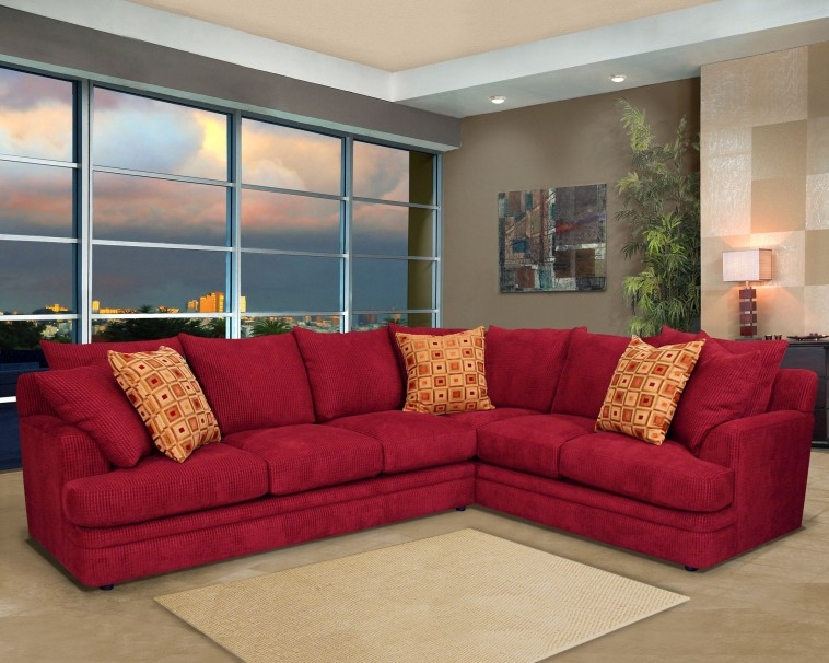 Furniture L Shaped Sofa Bed With Brown Cushion And Round Table On Intended For Red Microfiber Sectional Sofas (#7 of 15)